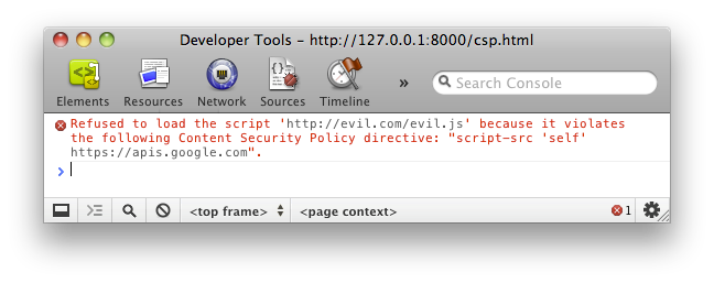 "Console error: ""Refused to load the script 'http://evil.example.com/evil.js' because it violates the following Content Security Policy directive: ""script-src 'self' https://apis.google.com""."""