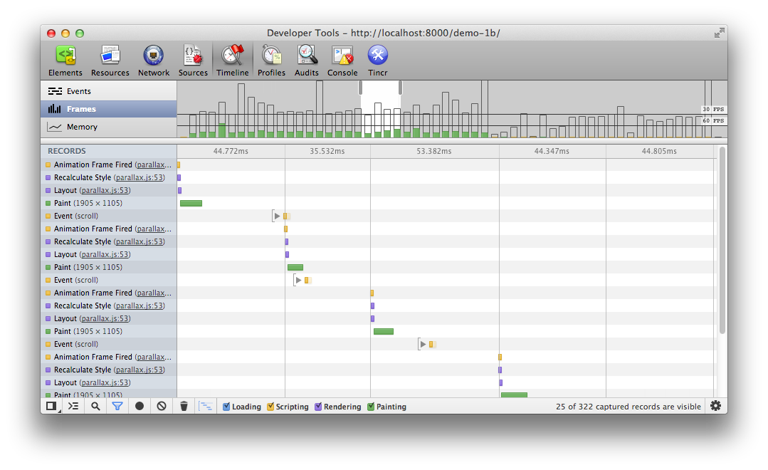 Chrome DevTools with debounced scroll events.