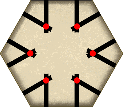 Control points on hexagonal tile