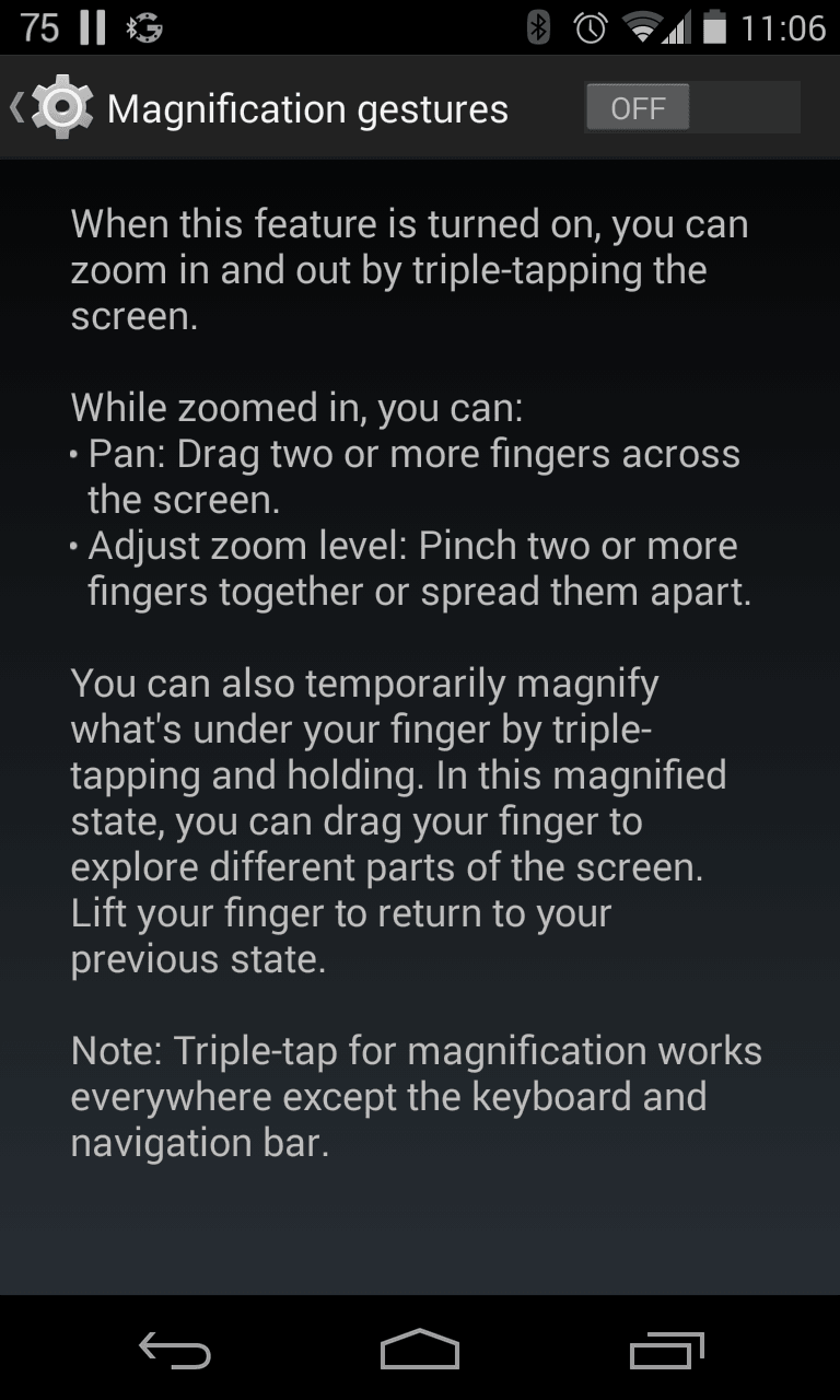 Android screen magnification